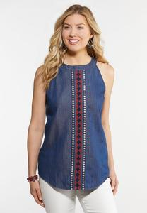 Plus Size Denim Embroidered Cleo Tank