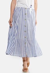 Linen Button Front Midi Skirt