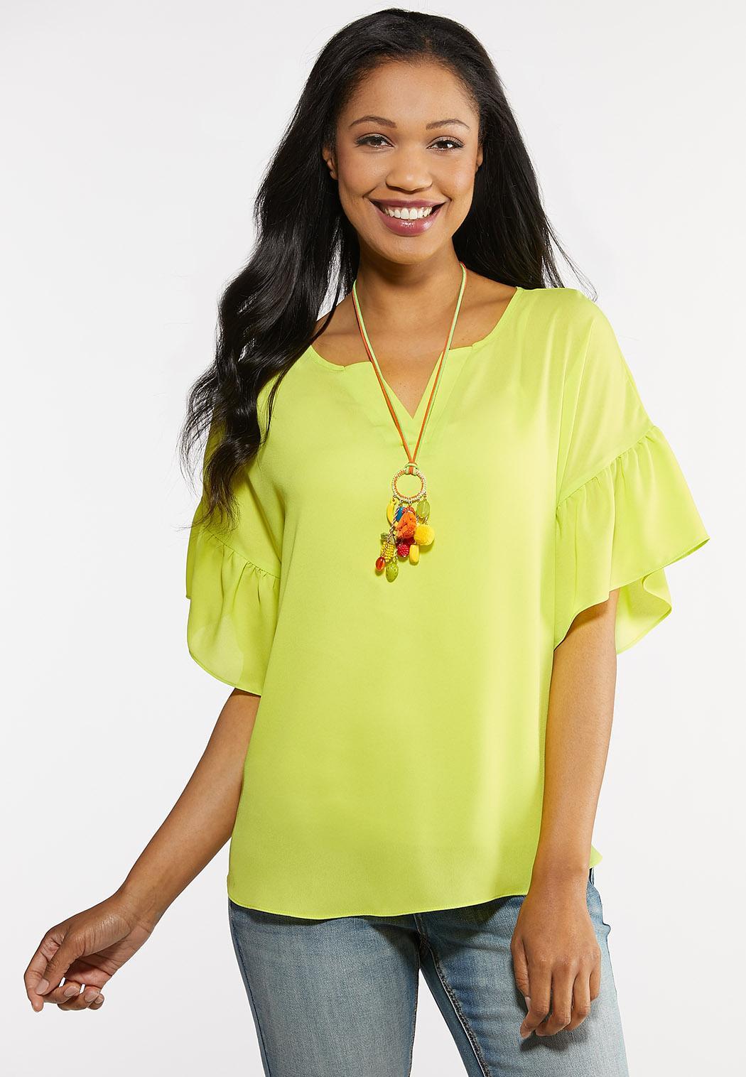 Lime Flounced Sleeve Top