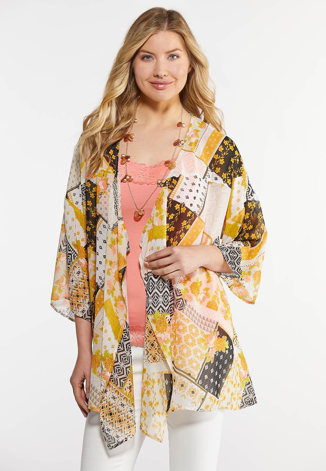 Plus Size Golden Floral Print Kimono