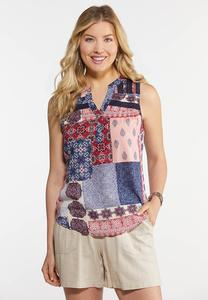 Plus Size Lace Trim Patchwork Print Tank