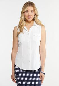 Plus Size Button Down Collar Tank
