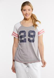 Plus Size Sporty Stripe Sleeve Tee