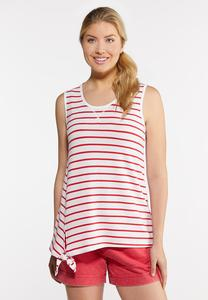 Plus Size Red Tie Stripe Tank