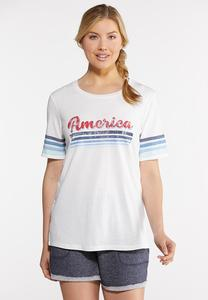 Plus Size America Striped Sleeve Tee