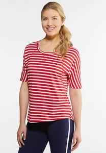 Plus Size Red And White Stripe Top