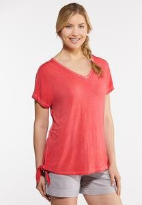 Plus Size Side Tie V-Neck Tee