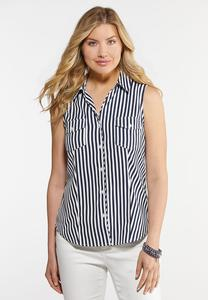 Plus Size Navy Stripe Button Down Tank