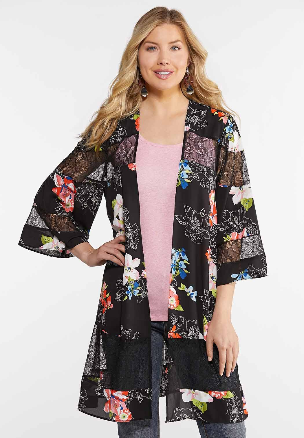 Floral Lace Panel Kimono