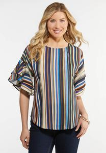 Double Ruffle Striped Top