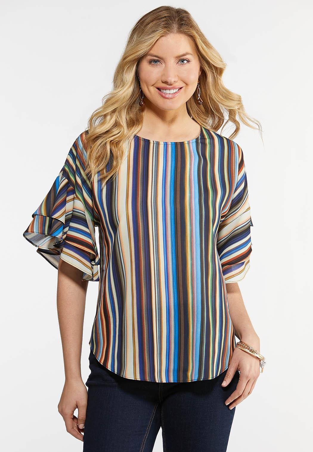Plus Size Double Ruffle Striped Top
