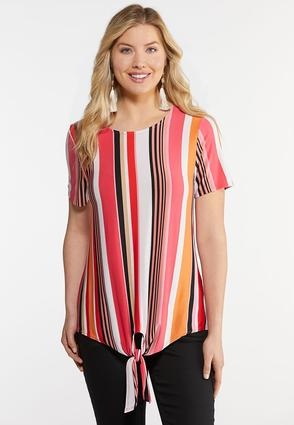 Melon Stripe Tie Front Top