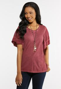 Plus Size Faded Wash Flutter Sleeve Tee