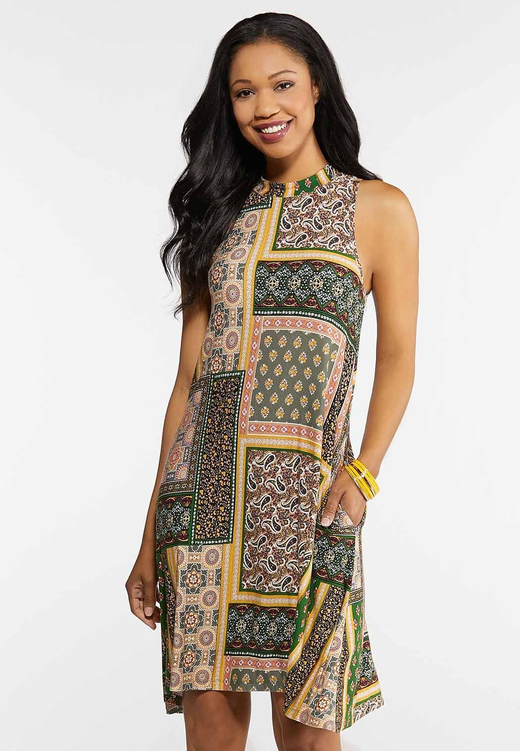 Plus Size Patchwork Mock Neck Dress
