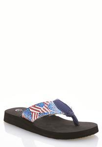 American Flag Sequin Flip Flops