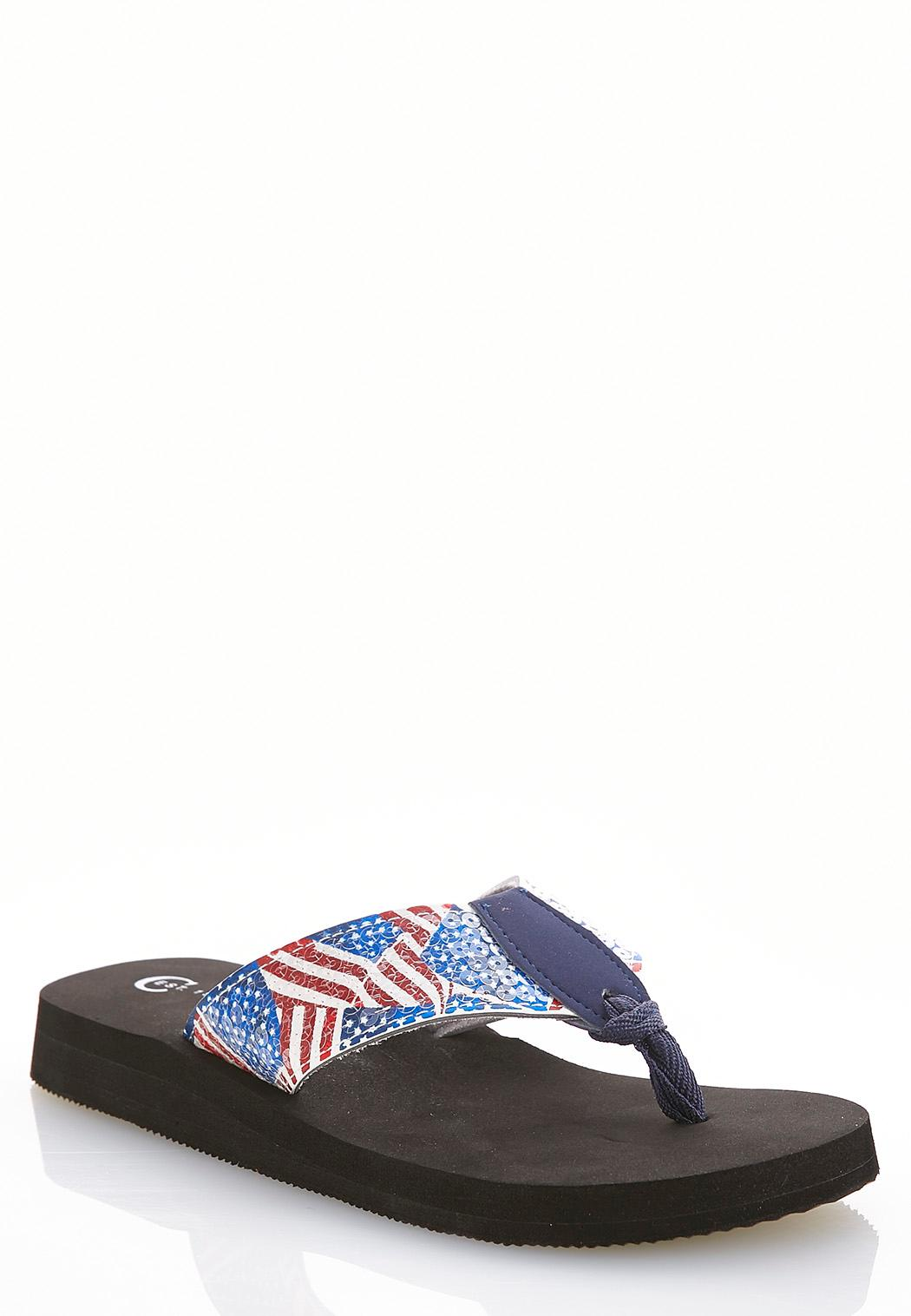 55ce64312 American Flag Sequin Flip Flops Flip Flops Cato Fashions