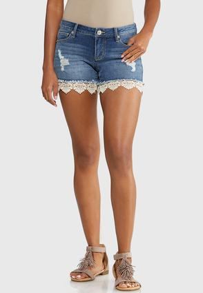 Crochet Hem Denim Shorts