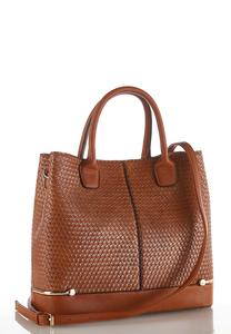 Basketweave Cognac Satchel
