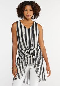 Stripe Layered Tie Front Top