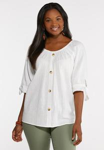 Tie Sleeve Button Front Top