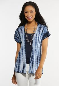 Plus Size Tie Dye Lace Up Cardigan