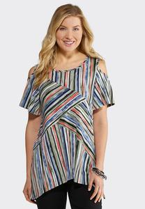 Plus Size Textured Stripe Cold Shoulder Top