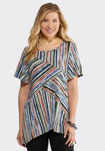 Plus Size Textured Stripe Short Sleeve Top