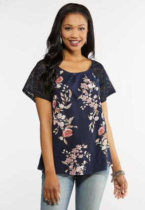 Plus Size Floral Lace Sleeve Top