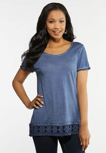 Plus Size Lacy Faded Wash Tee