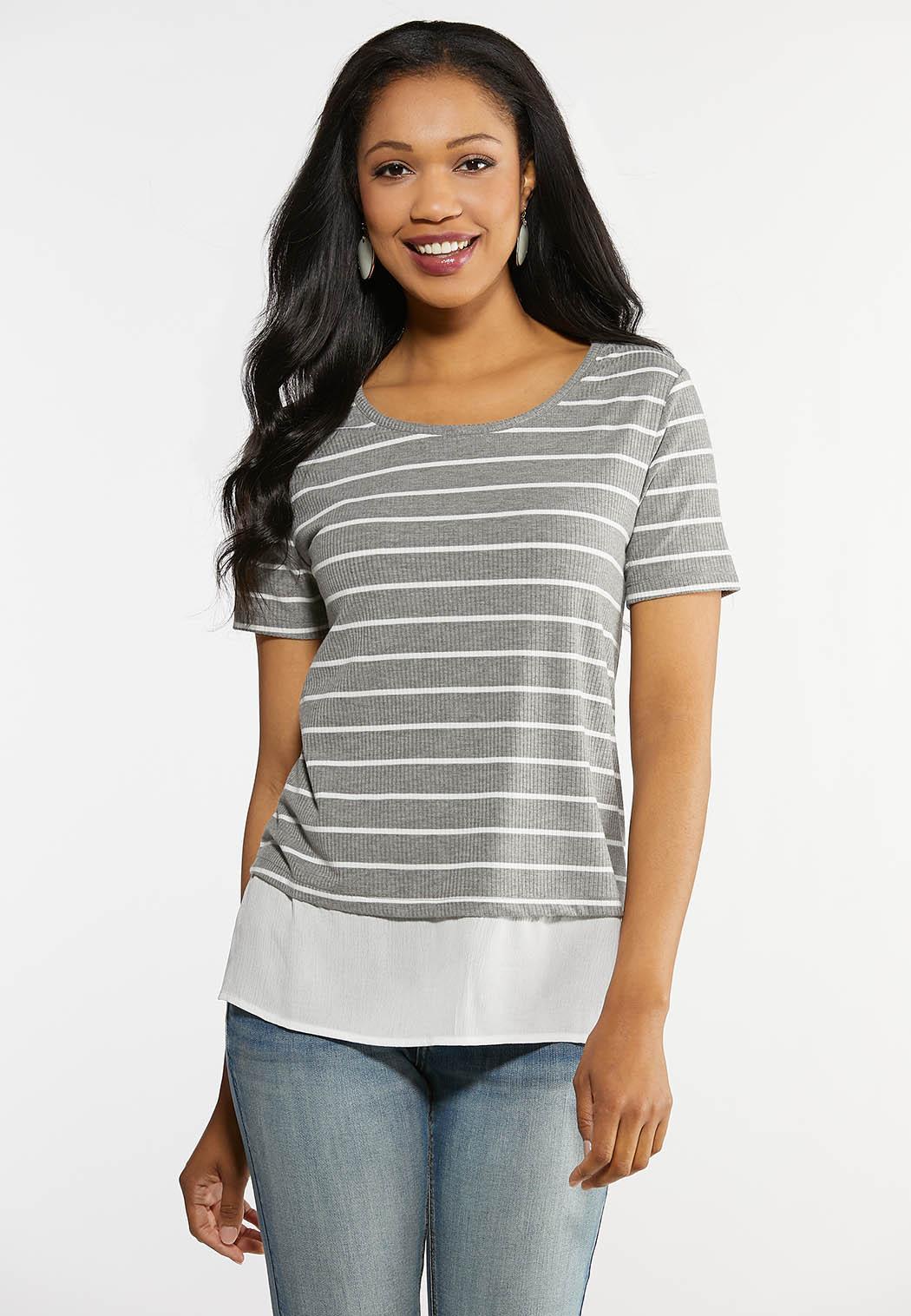 Plus Size Layered Gray Stripe Tee