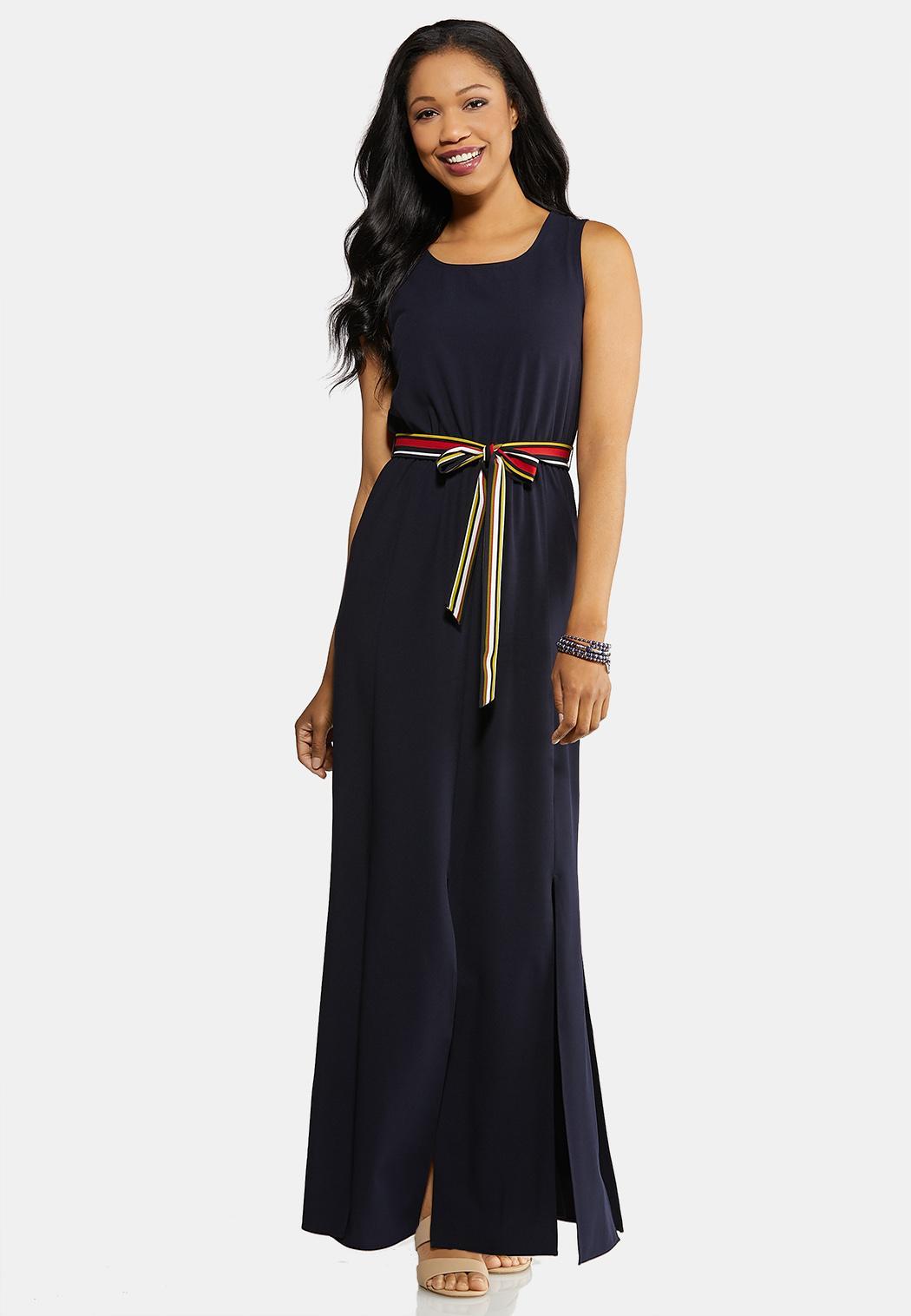 Petite Nautical Navy Belted Maxi Dress