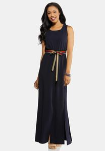 Petite Nautical Navy Belted Maxi Dress