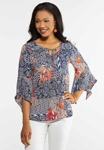 Plus Size Floral Bell Sleeve Poet Top