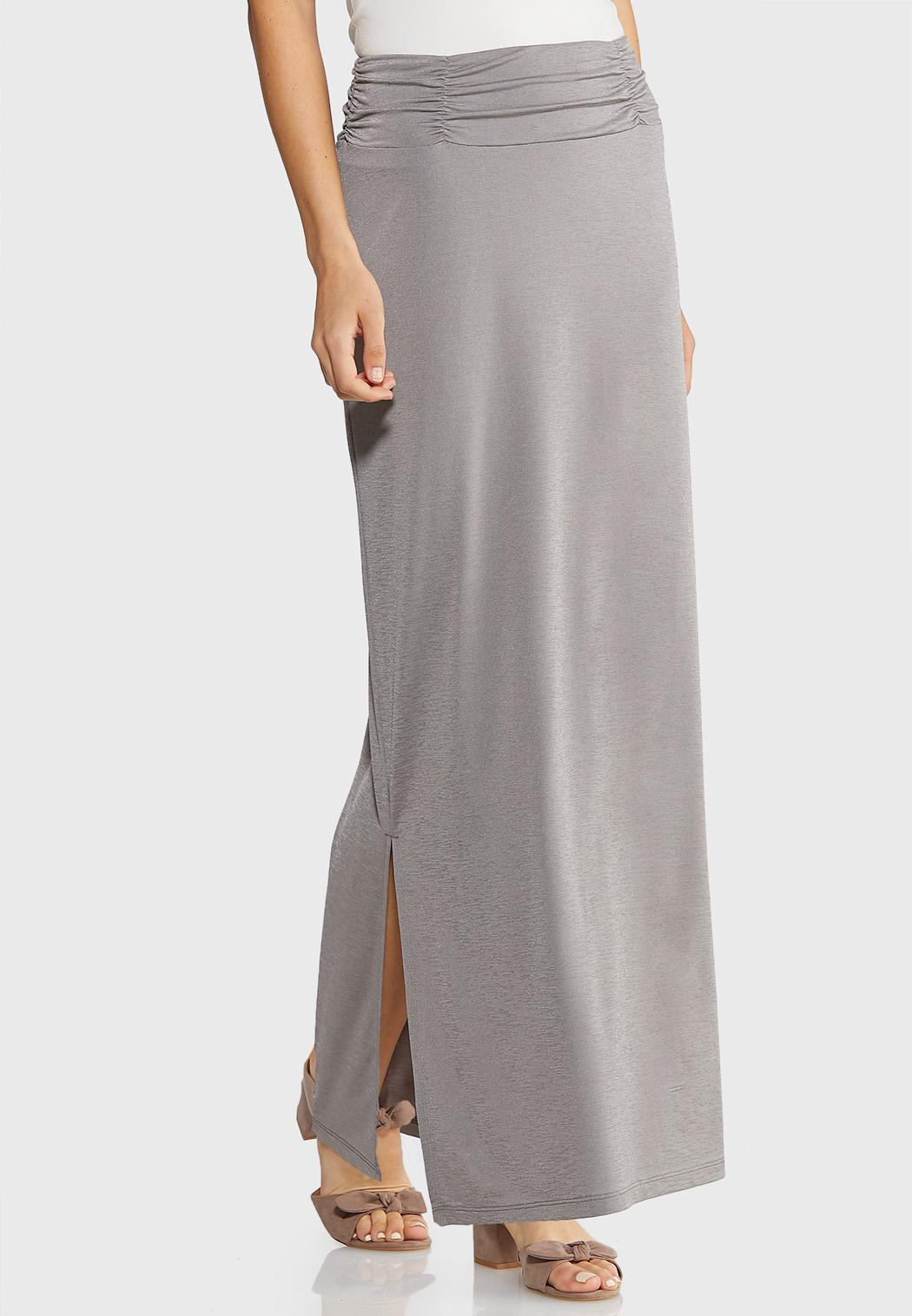 Plus Size Side Slit Maxi Skirt