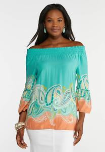 c26137f33f Plus Size Turquoise Paisley Top