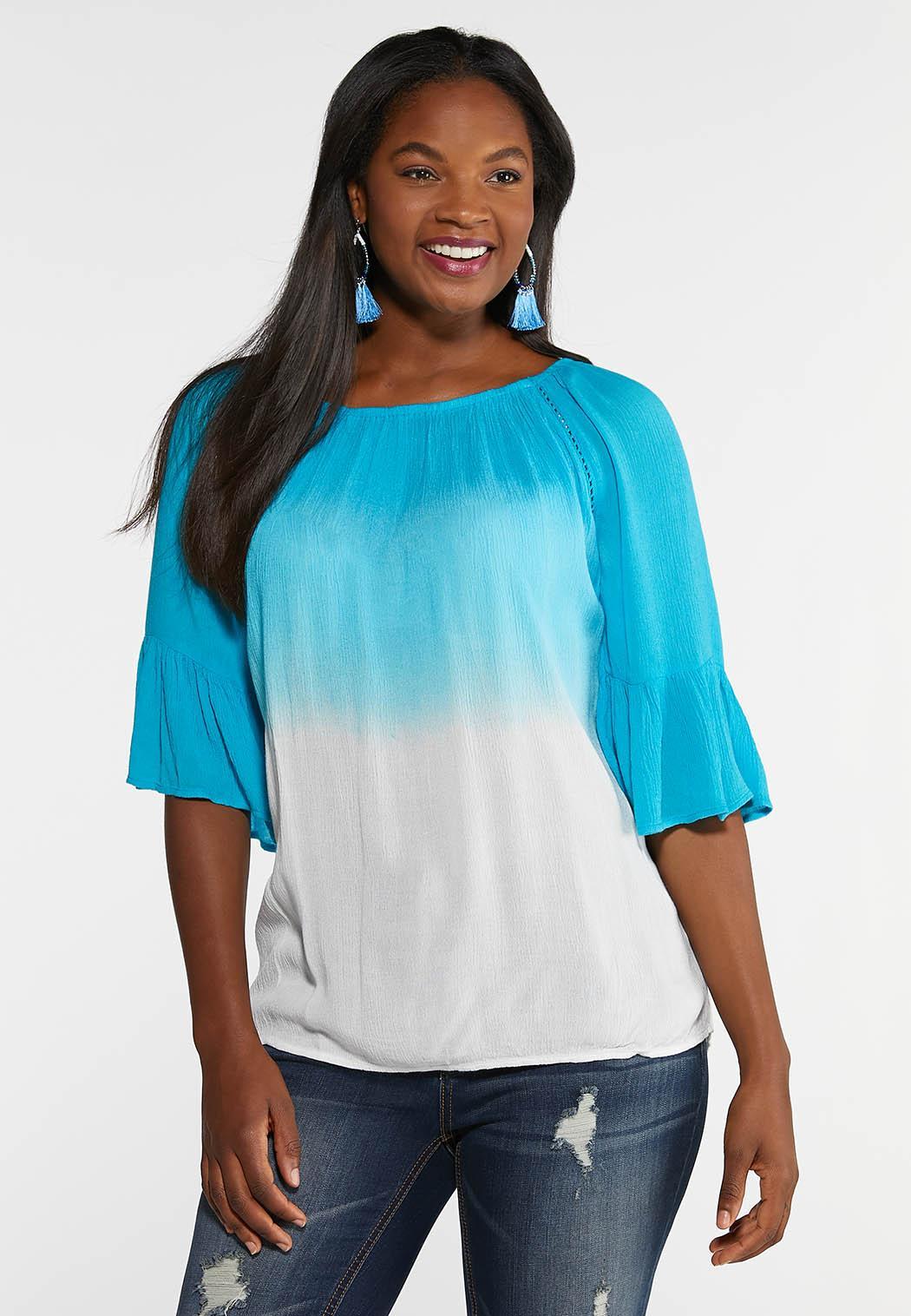 Plus Size Blue Ombre Gauze Top