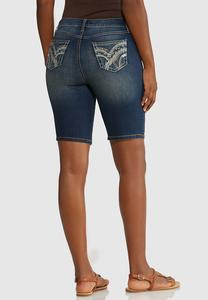 Stitched Denim Bermuda Shorts