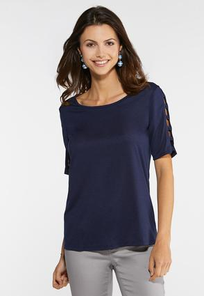 Plus Size Knotted Sleeve Tee