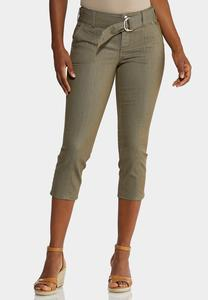 Belted Cropped Pants