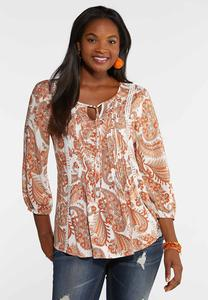 Plus Size Paisley Pleated Front Poet Top
