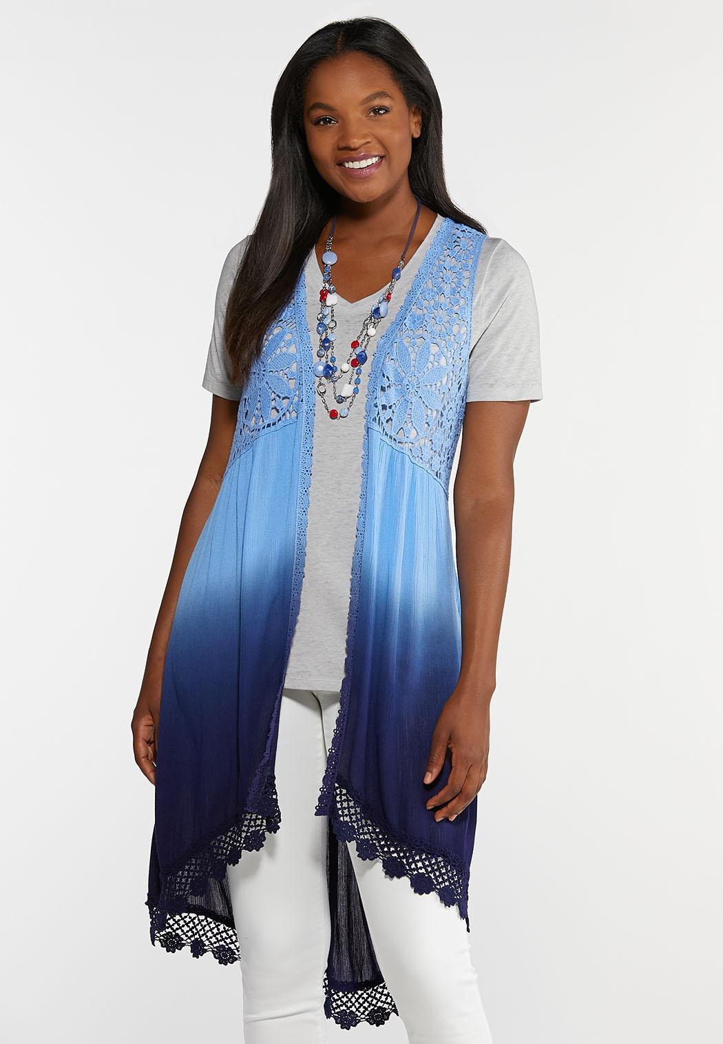 Plus Size Ombre Crochet Vest