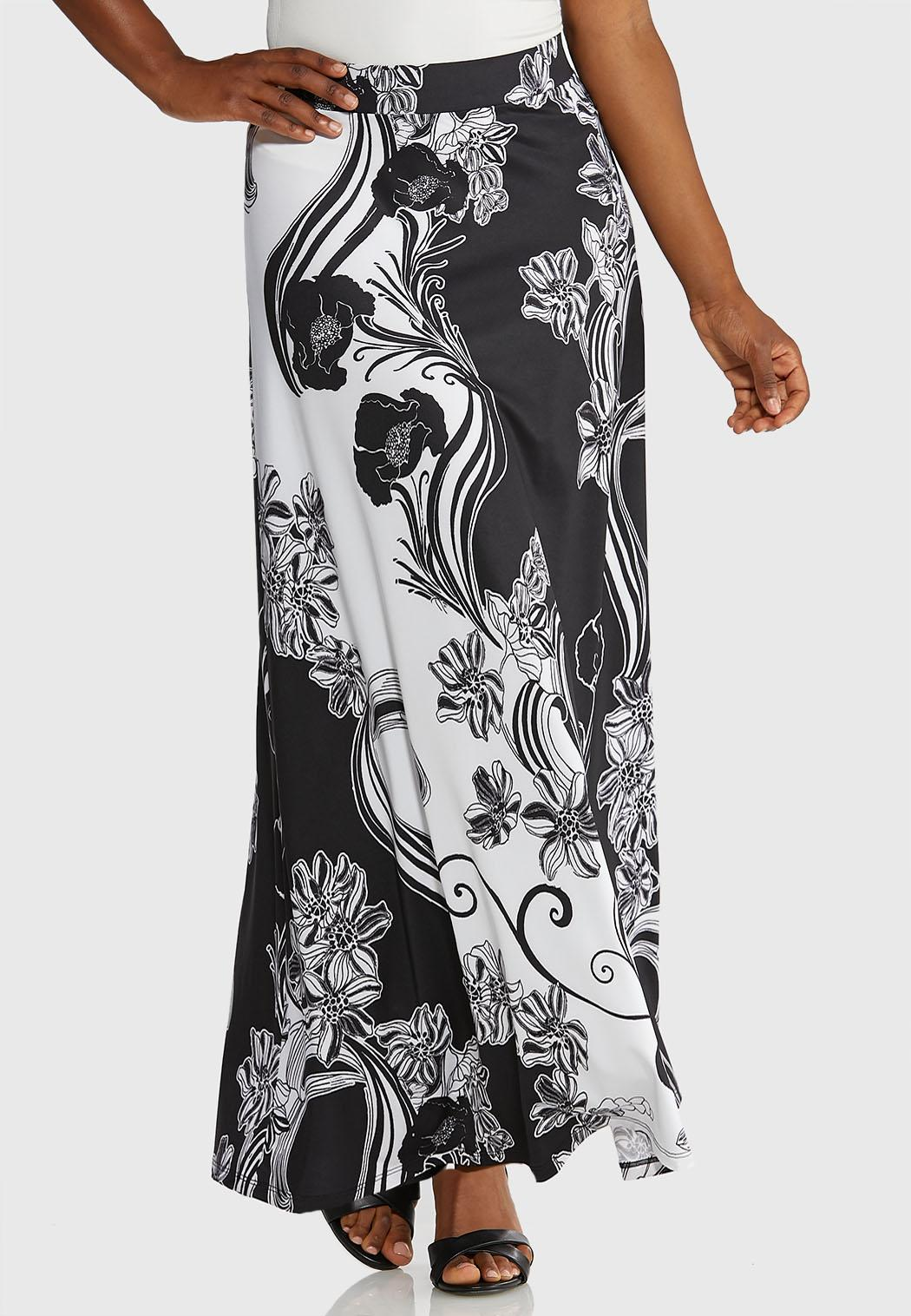 Black White Floral Maxi Skirt