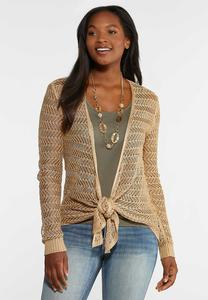 Plus Size Open Knit Cardigan