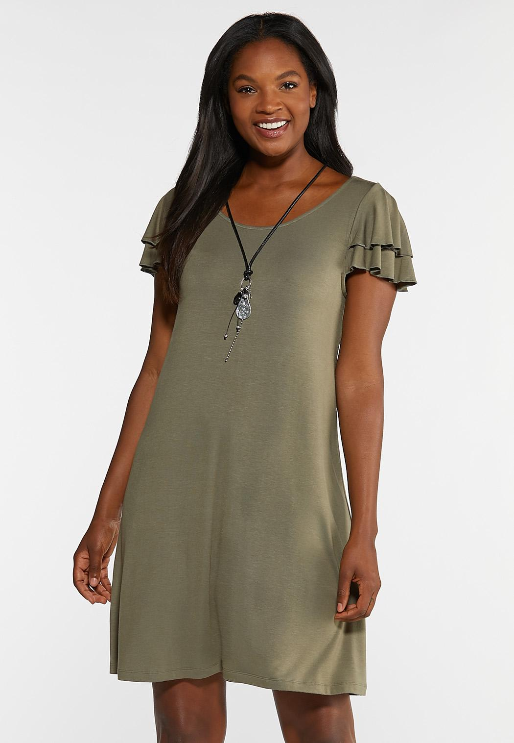 Plus Size Flutter Sleeve Swing Dress Dresses Cato Fashions
