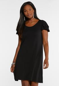 Plus Size Flutter Sleeve Swing Dress