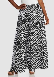 Zebra Print Swing Maxi Skirt