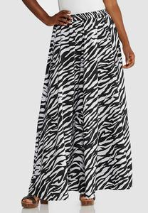 Plus Size Zebra Print Swing Maxi Skirt