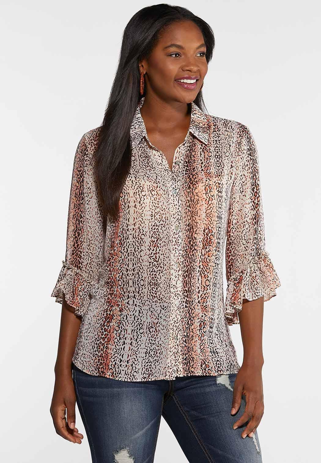 Animal Print Ruffle Sleeve Shirt