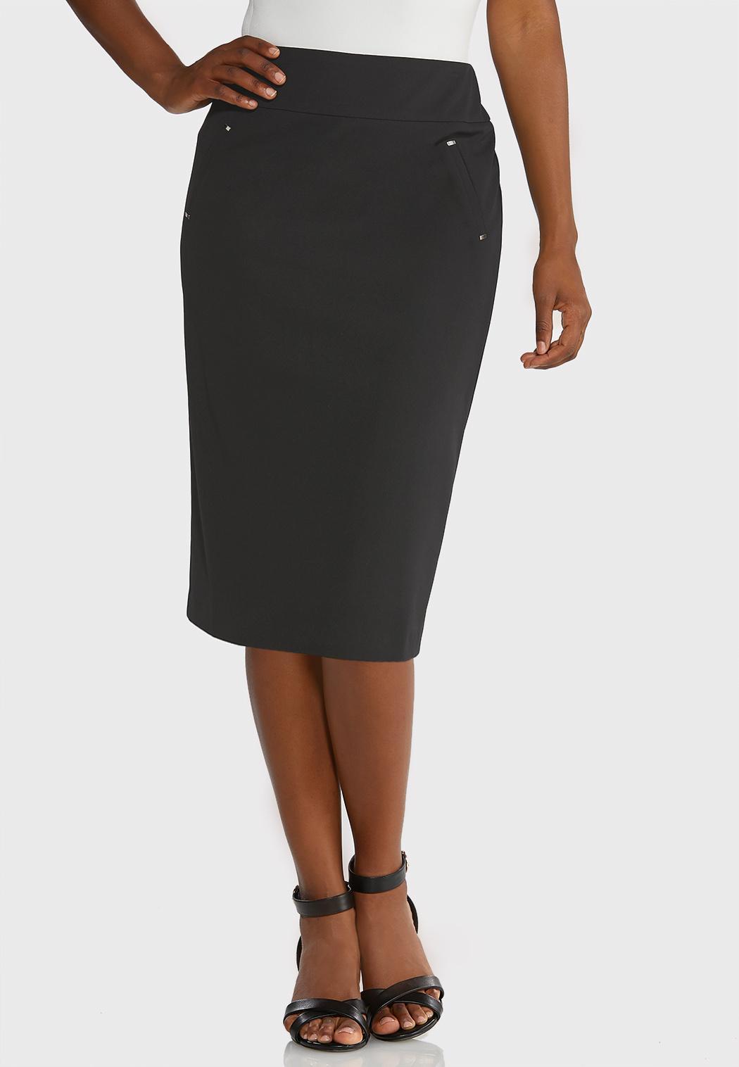 Plus Size Knit Pencil Skirt