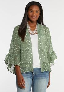 Plus Size Dotted Ruffle Kimono